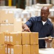 Worker In Warehouse Preparing Goods For Dispatch — Stock Photo #36835797