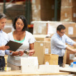 Workers In Warehouse Preparing Goods For Dispatch — Stock Photo #36835809