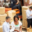 Workers In Warehouse Preparing Goods For Dispatch — Foto Stock
