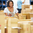 Stok fotoğraf: Workers In Warehouse Preparing Goods For Dispatch