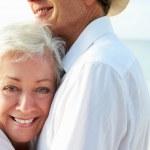 Affectionate Senior Couple On Tropical Beach Holiday — Stock Photo