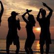 Silhouette Of Friends Having Beach Party — Stok fotoğraf