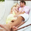 Couple Sleeping In Beach Hammock — Stock Photo