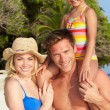 Portrait Of Family On Tropical Beach Holiday — Stok fotoğraf