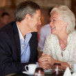 Romantic Senior Couple In Restaurant — Stock Photo