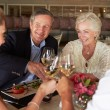 Group Of Friends Enjoying Meal In Restaurant — Foto de Stock