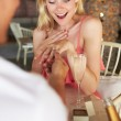 Man Proposing To Woman In Restaurant — Stock Photo