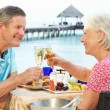Stock Photo: Senior Couple Enjoying Meal In Seafront Restaurant