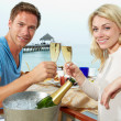 Couple Enjoying Meal In Seafront Restaurant — Stock Photo
