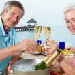 Senior Couple Enjoying Meal In Seafront Restaurant — Stock Photo