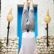 Senior Man Standing On Head In Yoga Position — Stock Photo