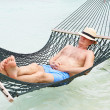 Senior Man Relaxing In Beach Hammock — Stock Photo