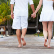 Detail Of Couple Walking On Wooden Jetty — Stock Photo
