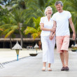 Senior Couple Walking On Wooden Jetty — Stock Photo