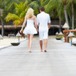 Rear View Of Couple Walking On Wooden Jetty — Stockfoto