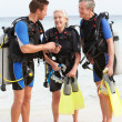 Senior Couple Having Scuba Diving Lesson With Instructor — Stock Photo #36837837