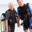 Senior Couple With Scuba Diving Equipment Enjoying Holiday — Stock Photo #36837869
