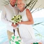 Senior Beach Wedding Ceremony With Cake In Foreground — Stock Photo