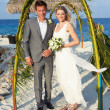 Bride And Groom Getting Married In Beach Ceremony — Stock Photo