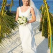 Beautiful Bride Getting Married In Beach Ceremony — Stock Photo