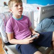 Boy Holding Controller Playing Video Game — Stock Photo