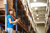Female Worker In Distribution Warehouse — 图库照片
