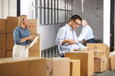 Workers Checking Goods On Belt In Distribution Warehouse — Stock Photo