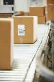Goods On Conveyor Belt In Distribution Warehouse — Stock Photo