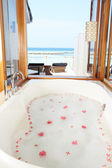 Luxury Hotel Bathroom With Ocean View — Stock Photo