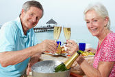 Senior Couple Enjoying Meal In Seafront Restaurant — Foto de Stock