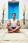 Man Meditating Outdoors At Health Spa — Stock Photo