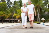 Senior Couple Walking On Wooden Jetty — 图库照片