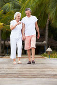 Senior Couple Walking On Wooden Jetty — Стоковое фото
