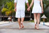 Detail Of Couple Walking On Wooden Jetty — Stockfoto