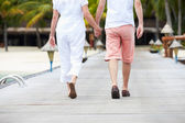 Detail Of Senior Couple Walking On Wooden Jetty — Stok fotoğraf