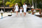 Family Walking On Wooden Jetty — Stok fotoğraf