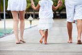 Rear View Of Family Walking On Wooden Jetty — Stock Photo