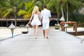 Rear View Of Couple Walking On Wooden Jetty — 图库照片