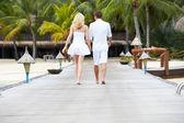 Rear View Of Couple Walking On Wooden Jetty — Stok fotoğraf