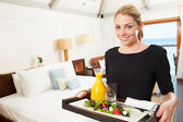 Portrait Of Hotel Worker Delivering Room Service Meal — Stock Photo