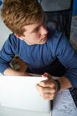 Boy Behaving Using Laptop — Stock Photo