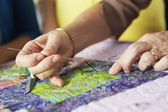 Woman's Hand Sewing — Stock Photo