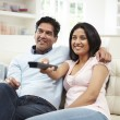 Indian Couple Watching TV — Stock Photo