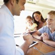 Happy family traveling by train — Stock Photo #36974455