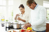 Senior Couple Cooking Meal — Stock Photo