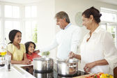Indian Family Cooking Meal — Stock Photo