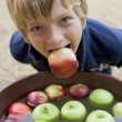 Young boy bobbing for apples — Stock Photo #4781525