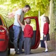 Father Driving To School With Children — Stock Photo #48295965