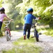 Two Children Pushing Bikes — Stock Photo