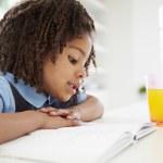 Girl Doing Homework In Kitchen — Stock Photo #48296959